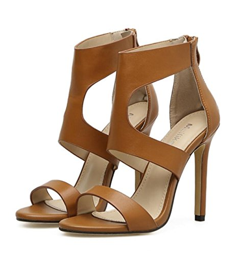 Soirée PU Aiguilles Glissière Noir Artificielle Brun Creux Mode Chaussures Fermeture Pour à LINYI brown Femmes Talons OwqP1xfa