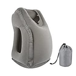 simptech Inflatable Travel Pillow, Ergonomic and Portable Head Neck Rest Pillow,Patented Design for Airplanes, Cars, Buses, Trains, Office Napping, Camping (Gray)