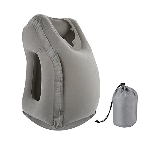 Simptech Inflatable Travel Pillow, Ergonomic and Portable Head Neck Rest Pillow,Patented Design for Airplanes, Cars, Buses, Trains, Office Napping, Camping (Grey)