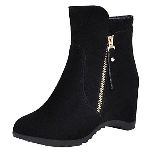 COOLCEPT Women Bootie Boots Zipper Black