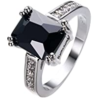 Charming Women 925 Silver Black Onyx Ring WeddingEngagement Jewelry Size 5-12 by khime (12)