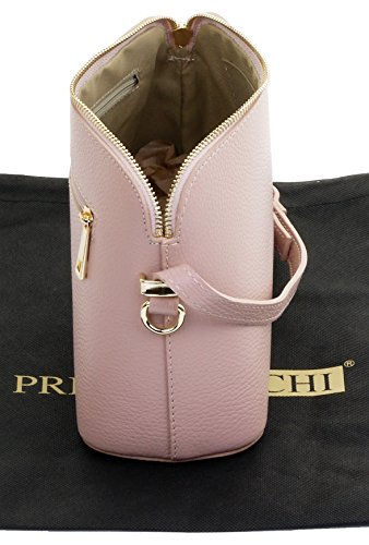 Sacchi® Adjustable Leather Italian Strap Smoke Includes Triangular Small Bag Shoulder Branded Rose Crossbody Textured Protective Primo a Bag Storage dtqdY