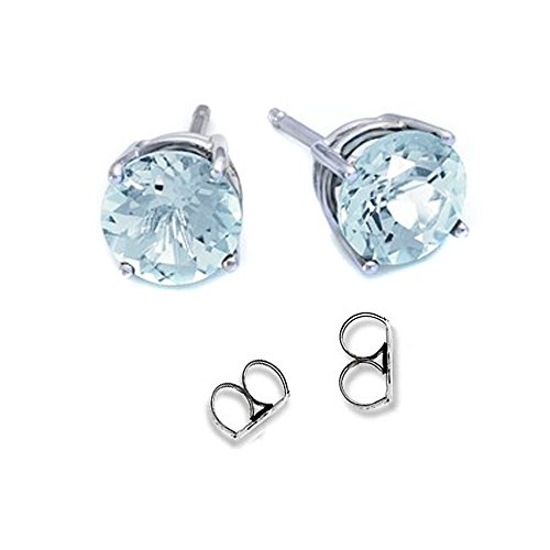 FANTOM JEWELRY 2.00 Carat Total Weight Sterling Silver Simulated Aquamarine Colored Round Cubic Zirconia Stud Earrings- ()