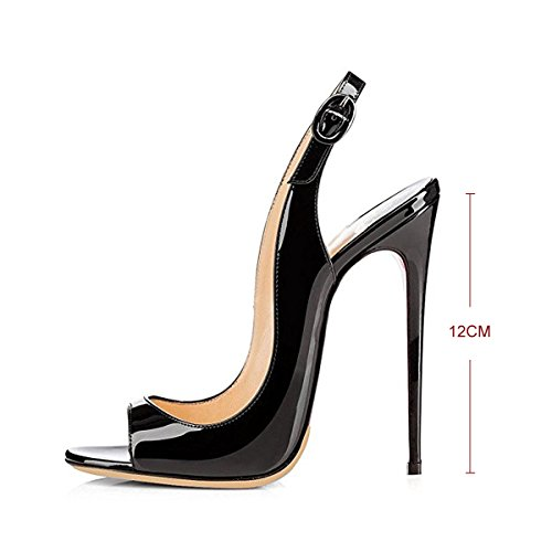PU Heel Onlymaker Fashion Women`s Peep Black Sandals High Toe Slingback cnYRIYWq