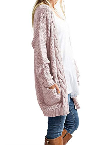 OmicGot Women's Casual Open Front Cable Knit Cardigan Long Sleeve Sweater Coat with Pink L