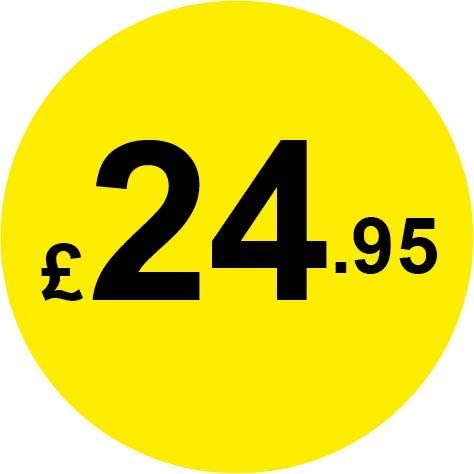 Permanent Adhesive 1000 /£1.79 Black /& Yellow 30mm Price Stickers//Labels from 10p to /£5.25