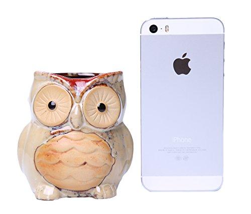 Greencherry Ceramic Cartoon Owl Planter Porcelain Animal Flowerpot Creative Plant Container for Decoration