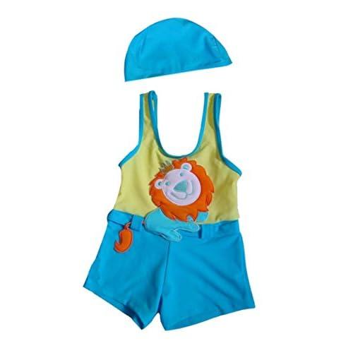 f95a14a6337a7 Panda Superstore Cute Lion Boys Body Suits 2 Pcs Swimsuits