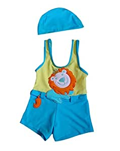PANDA SUPERSTORE Cute Lion Boys Body Suits 2 Pcs Swimsuits, 5T, 3-4 Years Old Boy
