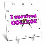 3dRose Student Humor - I Survived College Pink - 6x6 Desk Clock (dc_274506_1)