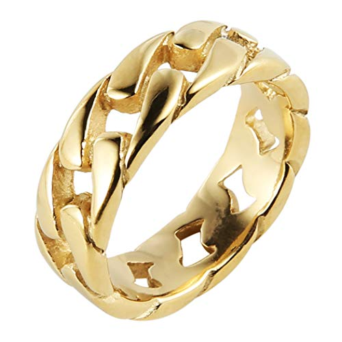 HZMAN Mens Stainless Steel 7mm Wide Band Cuban Link Chain Ring, Silver Gold Black (Mens Gold Stainless Steel Rings)