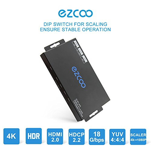 ezcoo 4K HDMI 2.0 Splitter HDR Scaler Switch, HDMI Splitter 1x4 4K 60Hz 4:4:4 18Gbps HDR Dolby Vision, HDCP 2.2, Smart EDID, Four HDMI Output 4K &1080P Together,Manual Down Scaler Setting, Atmos,DTS:X by EZCOO