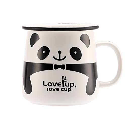 UPSTYLE Cute Ceramic Coffee Travel Mugs with Lid Funny and Adorable Panda Animal Porcelain Milk and Tea Cup for a Novelty Gift, 11 -
