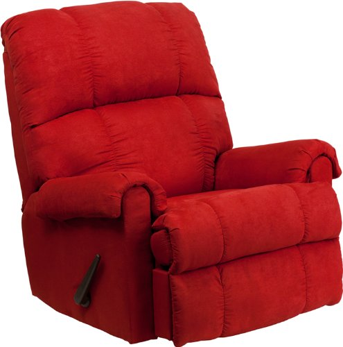 Flash Furniture Contemporary Flatsuede Red Rock Microfiber Rocker Recliner