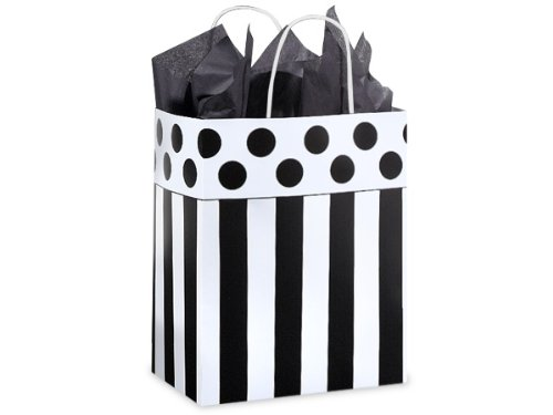 Pack Of 250, Cub 8 x 4.75 x 4.25'' Stripe Domino Alley Recycled Paper Shopping Bags Made In USA by Generic