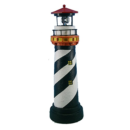 16-1/2'' Black Striped Solar Lighthouse by Chesapeake Bay
