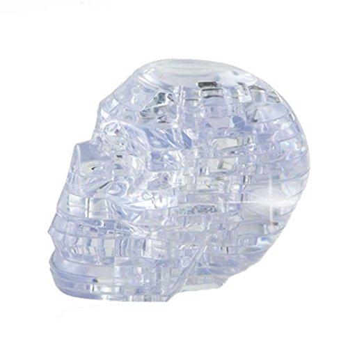 Hot Sale!AMA(TM) Original 3D Crystal Jigsaw Puzzle Skull Model DIY Gadget Blocks Building Toy (White)