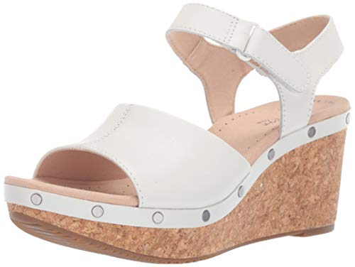 White Leather Wedge - CLARKS Women's Annadel Clover Wedge Sandal White Leather 070 M US