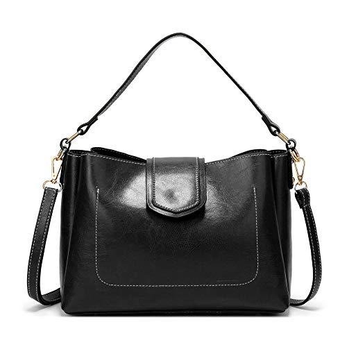 (Pinprin Hobo Purses and Handbags for Women Patent Leather Tote Bags Top Handle Satchel Handbags Shoulder Bags (Black))