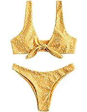 ZAFUL Bikini voor dames, bloemen, lage taille, knoop aan de voorkant, schattige tweedelige badpakken