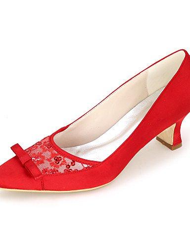 GGX/ Damen-High Heels-Hochzeit / Kleid / Party & Festivität-Satin-Blockabsatz-Quadratische Zehe-Schwarz / Blau / Rosa / Rot / Elfenbein / Weiß 2in-2 3/4in-ivory
