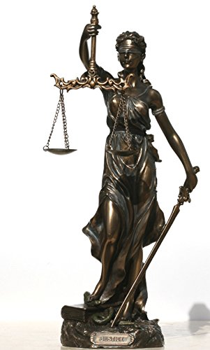 Diosa de la Justicia Themis Lady Justica Estatua Escultura Figura de Bronce finish11.8-30cm