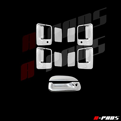 A-PADS 1999-2007 Ford F250 SuperDuty Chrome 4 Door Handle With Keyhole Tailgate Cover