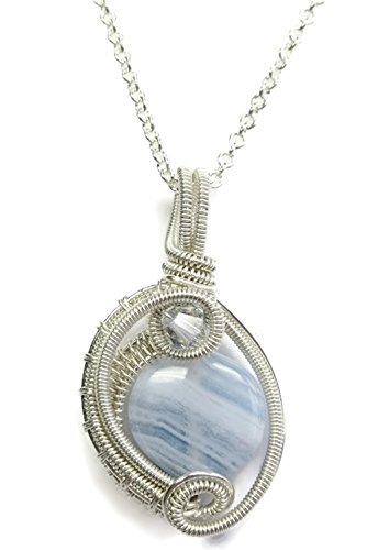 Agate Circle Pendant (Blue Lace Agate & Sterling Silver Woven Circle Pendant with Swarovski Crystal and Chain)