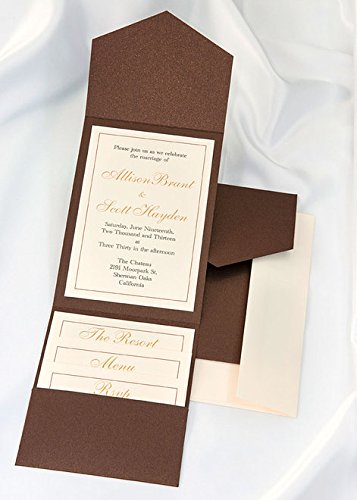 All-in-One Pocket Invitation Kit - Bronze Shimmer Elegance - Pack of 20