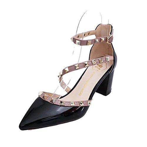 Unang Ankle Strap Heels Sandals Women Pumps Block Heel Rivet Studs t Strap Low Heels (6.5 B(M) US, Black)