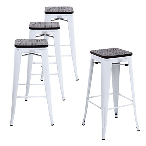 Buschman Set Four White Wooden Seat 30 inches Bar Height Metal Bar Stools, Indoor/Outdoor, Stackable