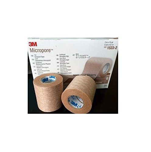 3M Health Care 1533-2 Paper Surgical Tape, 2'' x 10 yd. Size, Tan (Pack of 60)