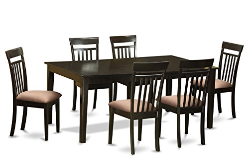 East West Furniture HECA7-CAP-C 7-Piece Formal Dining Table Set, Cappuccino Finish