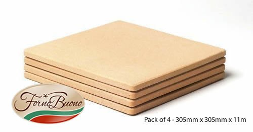 Forno Buono® SQUARE PIZZA STONE 305mm x 305mm x 11mm PACK OF FOUR Corderite Baking/Pizza Stones - For Oven, Grill or BBQ