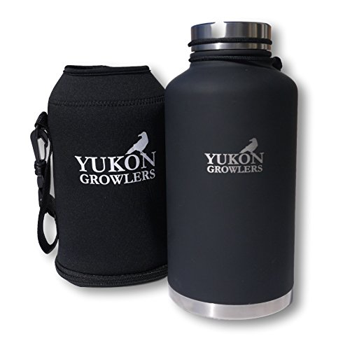 YUKON GROWLERS - Keep Your Drink Cold for 24 Hours or Hot for 12 Hours with this Vacuum-Insulated Stainless Steel Water Bottle Bundled with Neoprene Carrying Case - 64 oz (Growler & Case)