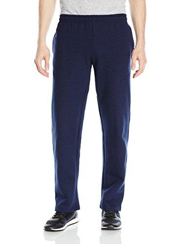 Jersey Fleece (Gildan Men's Fleece Open Bottom Pocketed Pant, Navy, Medium)