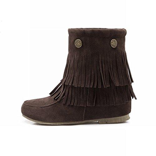 Latasa Womens Chic Nubuck Tassels Rivets Short Pull-on Slouch Flats Boots Brown pMWoFR