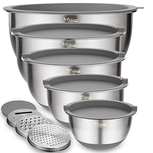 Mixing Bowls Set of 5, Wildone Stainless Steel Nesting Bowls with Grey Airtight Lids, 3 Grater Attachments, Measurement…