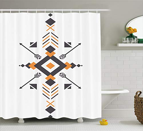 Lunarable Aztec Shower Curtain by, Tribal Ethnic Design with Hunting Equipment and Abstract Geometric Shapes Print, Fabric Bathroom Decor Set with Hooks, 70 Inches, Orange Taupe
