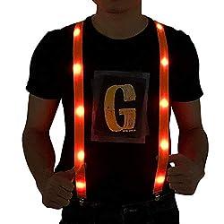 LED Light up Suspenders In Orange Color