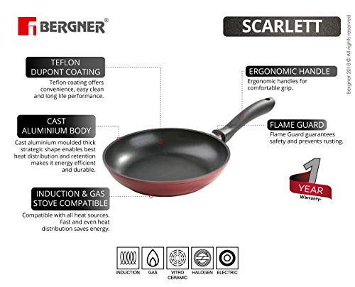 BERGNER-Scarlett-Die-Cast-Aluminium-Non-Stick-Frypan-20-cm-Induction-Base-Maroon