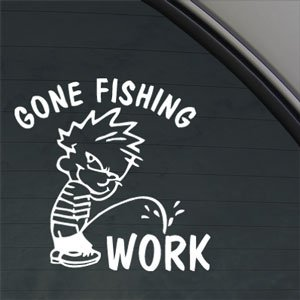 Funny gone fishing decal car truck window for Fishing stickers for trucks