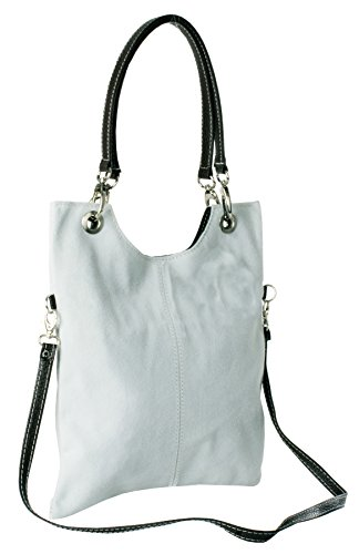 Big Handbag Shop Suede Leather Plain Top Handle Evening Clutch Shoulder Bag Ice Grey