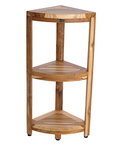 EcoDecors New EarthyTeak Fully Assembled 3-Tier Compact Teak Corner Shower Shelf- Shower Storage