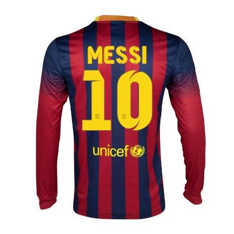 2013-14 Barcelona Home Long Sleeve Shirt (Messi 10)