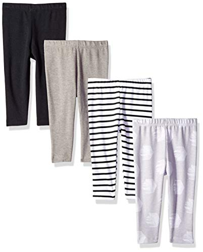Hanes Ultimate Baby Flexy 4 Pack Knit Pants, Grey/Black Stripe, 12-18 Months
