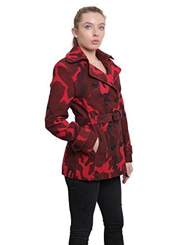 CORTO Camuflaje ABRIGO mujer Estampado doble Rojo pecho Crema La Chaqueta Mujer w6Tz8t1qU