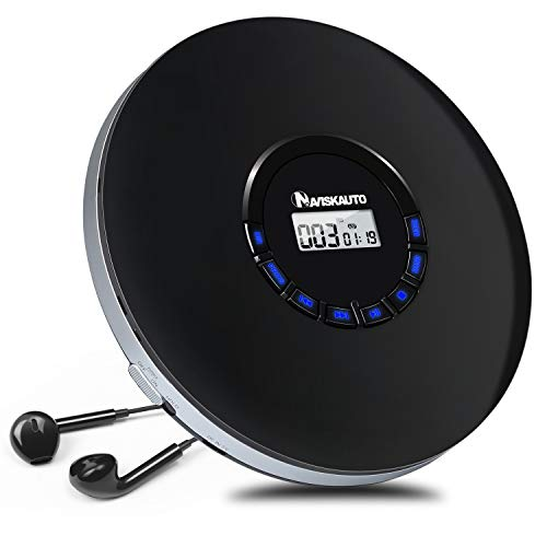 Rechargeable Portable CD Player for Car, Compact Personal CD Player with LED Backlit Display, 12 Hours Playing Time, Shockproof and 3.5mm AUX Cable