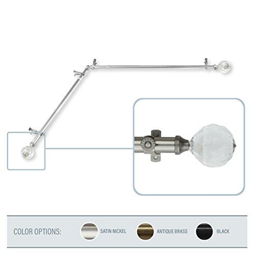 A&F Rod Decor - Sparkle Corner Window Curtain Rod 28-48 inch (each side) - Satin Nickel -