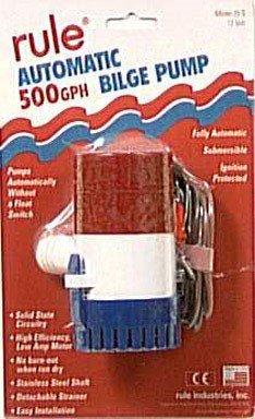 Rule 25S Submersible Bilge Pump, 500 Gallon Per Hour, 12 Volt DC, Automatic Electronic Sensing